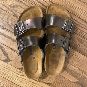 Metallic gray Birkenstock sandals